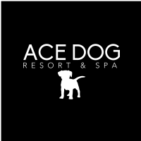 logo of Ace Dog Resort & Spa, LLC with a dog graphic
